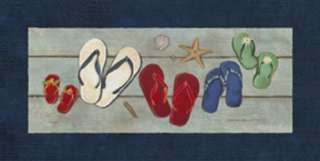 Family Flip Flops Stephanie Marrott 12x24 Framed or Unframed