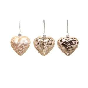 Club Pack of 12 Winters Blush Pink Heart Glass Christmas Ornaments 3