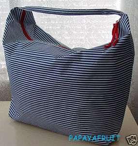 New Lancome Blue & White Stripe Crescent Hobo Beach Bag