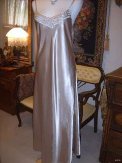 Vtg Intimate Essentials GOLD Glossy Shiny Liquid Satin Long Nightgown