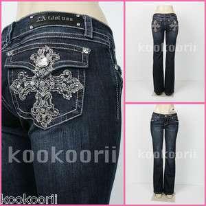 Jeans   Cross/Rhinestone/Metal Studs, BOOTCUT, Regular 0 15size