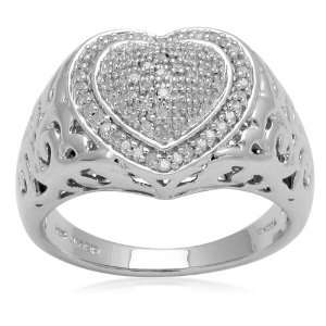 Sterling Silver Filigree Design Heart with Diamond Accent