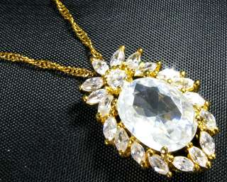 Oval Cut Clear Topaz Stone Yellow Gold GP Pendant Chain