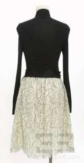 Marc Jacobs Black Jersey & Cream Lace Long Sleeve Satin Bow Dress Size