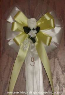 WHITE ROSE YELLOW Satin Ribbon Pew Bows for Weddings