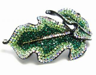 HAIR BARRETTE CLIP PONY HOLDER AUSTRIAN RHINESTONE CRYSTAL C1164 GREEN