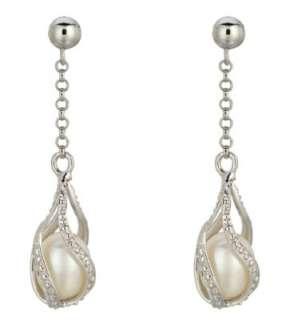 Sterling Silver Pearl Dangle Earrings New Sale