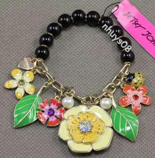 Free Ship Betsey Johnson Secret Garden Charm Stretch Bracelet