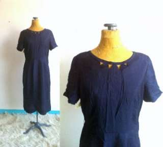 VINTAGE ~ 1940s ~ NAVY BLUE COCKTAIL DRESS EYELETS METAL SIDE ZIPPER