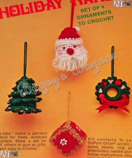 Bucilla HOLIDAY HANG UPS Ornaments Crochet Christmas Kit   Santa, Tree