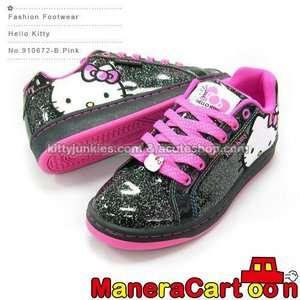 Hello Kitty Lady Sneakers Low Profile Black Glitter #910672