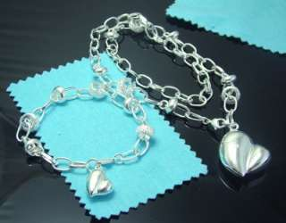 silver plated heart bead Necklace +bracelet set new N16