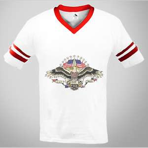 American Pride Tatoo Bald Eagle USA Flag Ringer T shirt