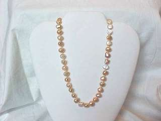 PINK peach Pearl necklace 14kt gold clasp