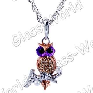 Owl Rhinestone&Enamel&Imitate Pearl Pendant Necklaces