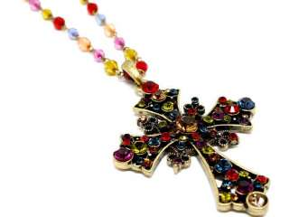 VICTORIAN STYLE CROSS MULTI COLOR CRYSTAL NECKLACE