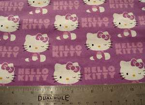 COTTON Fabric Sanrio Hello Kitty WINK on Lt Purple BTY