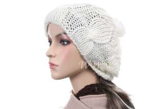 Cute Tufted Knit Beanie Hat Winter Woman Cap be448w