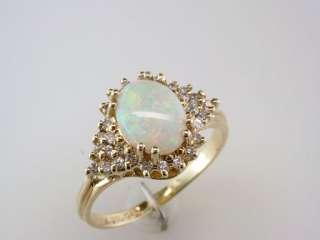 Antique Deco Genuine Fiery Opal 0.35ct Diamond 14K Yellow Gold