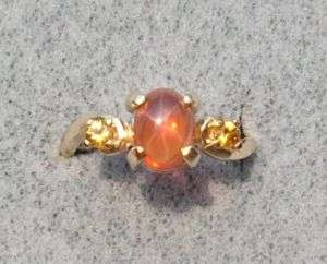8X6MM ORANGE LINDE STAR SAPPHIRE CREATED 14 KYG RING