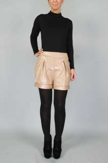 WOMENS WET LOOK EVENING PVC LADIES FAUX LEATHER HIGH WAISTED SHORTS