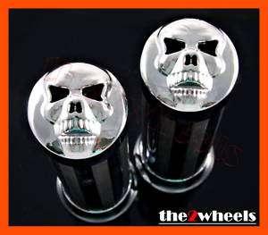 Motorcycle Skull Custom Chrome Handlebar Hand Grips 1