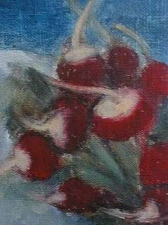 IMPRESSIONIST OIL PAINTING FRESH RADISHES SIGNED ROGERS