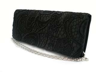 BLACK SATIN AND LACE CLUTCH BAG PURSE WITH LONG CHAIN