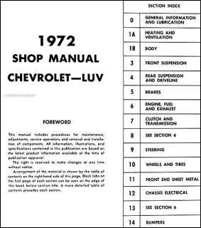 Luv Repair Shop Manual 72 Chevrolet Pickup Truck Original OEM Service