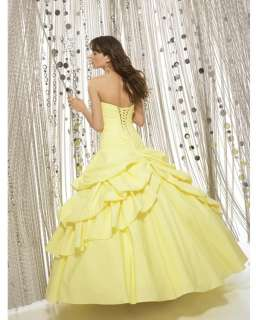 STOCK Yellow Prom Party Ball Gown Sweetheart Evening Dress Size 6 8 10
