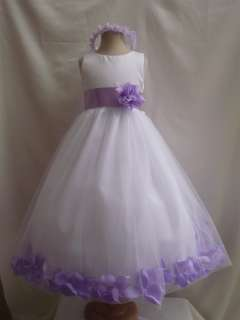White Dress  Girls on New White Lilac Purple Lavender Party Flower Girl Dress Sm L Xl 2 4 6