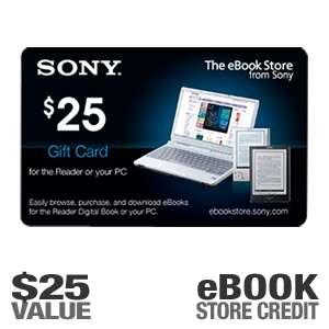 Sony EBOOK0225 $25.00 eBook Reader Gift Card   Good Towards eBook
