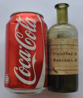 19th Cen Imperial Russia Photo Fixing Solution Bottle Original