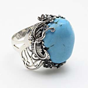 NEW AMRITA SINGH CARVED STERLING SILVER NATURAL STONE TURQUOISE RING 8