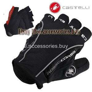 Castelli Rosso Corsa Bike Cycling Bicycle Fingerless Gloves Black S/M