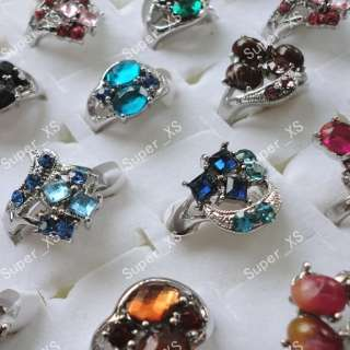 wholesale jewelry lots 10pcs multicolor Rhinestone silver Plated Rings