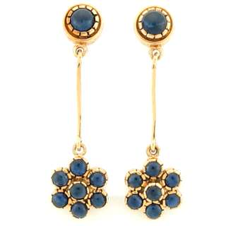 50Ctw Antique Blue Sapphire Ladies Hanging Earrings 14K Yellow Gold