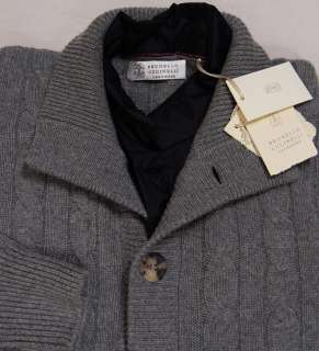 BRUNELLO CUCINELLI SWEATER GRAY 100%CASHMERE 12 PLY 8 BTN CARDIGAN L