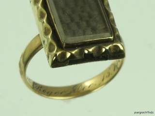 VICTORIAN 14K YELLOW GOLD WOVEN HAIR MOURNING RING DATED 1863 SIZE 8