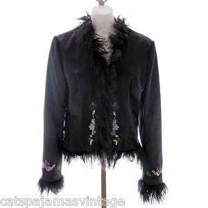 Nicole Miller Collection Black Beaded Jacket Size 10