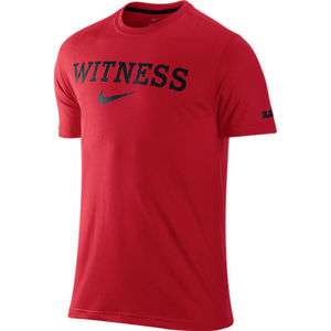 Nike LEBRON JAMES Dri Fit Witness Logo Red/Black Shirt Miami Heat Sz S