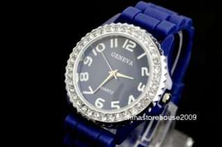 Women Dark Blue Fashion Silicone Jelly Quartz Wrist Watch G2BL