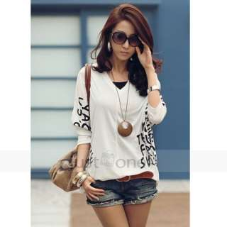 Women Casual Dolman Batwing Long Sleeve Letter Prints Tops Blouse V