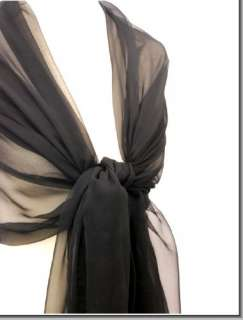 SOLID BLACK CHIFFON SCARF~ WEDDING STOLE~ PROM EVENING WRAP   100%