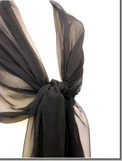 SOLID BLACK CHIFFON SCARF~ WEDDING STOLE~ PROM EVENING WRAP   100%