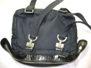 Vintage Gianni Versace Nylon and Leather Black and Navy Blue Backpack