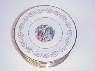 SALAD PLATES LA COMTESSE FINE CHINA 22 KT GOLD SET 12