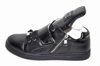 NEW D&G DOLCE & GABBANA BLACK LEATHER SNEAKERS 43   10
