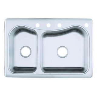 Staccato Large/Medium Self Rimming Stainless Steel 33 in. x 22 in. x