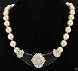 SAL Swarovski Crystal Faux Pearl Beaded Necklace 14 Beautiful